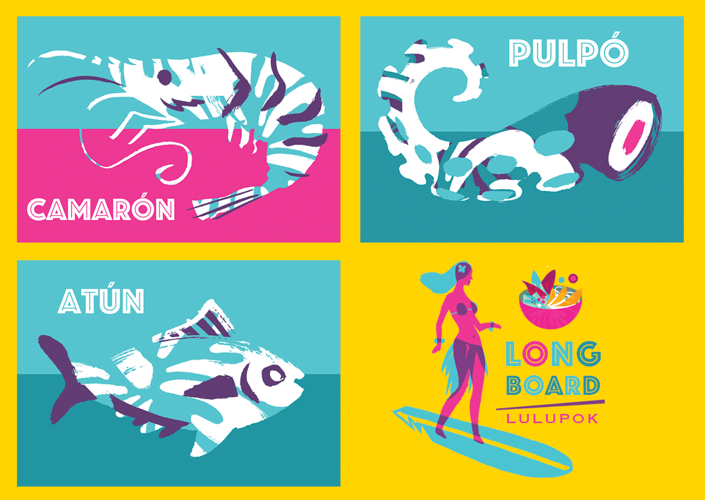 illustrations crevette poulpe et thon